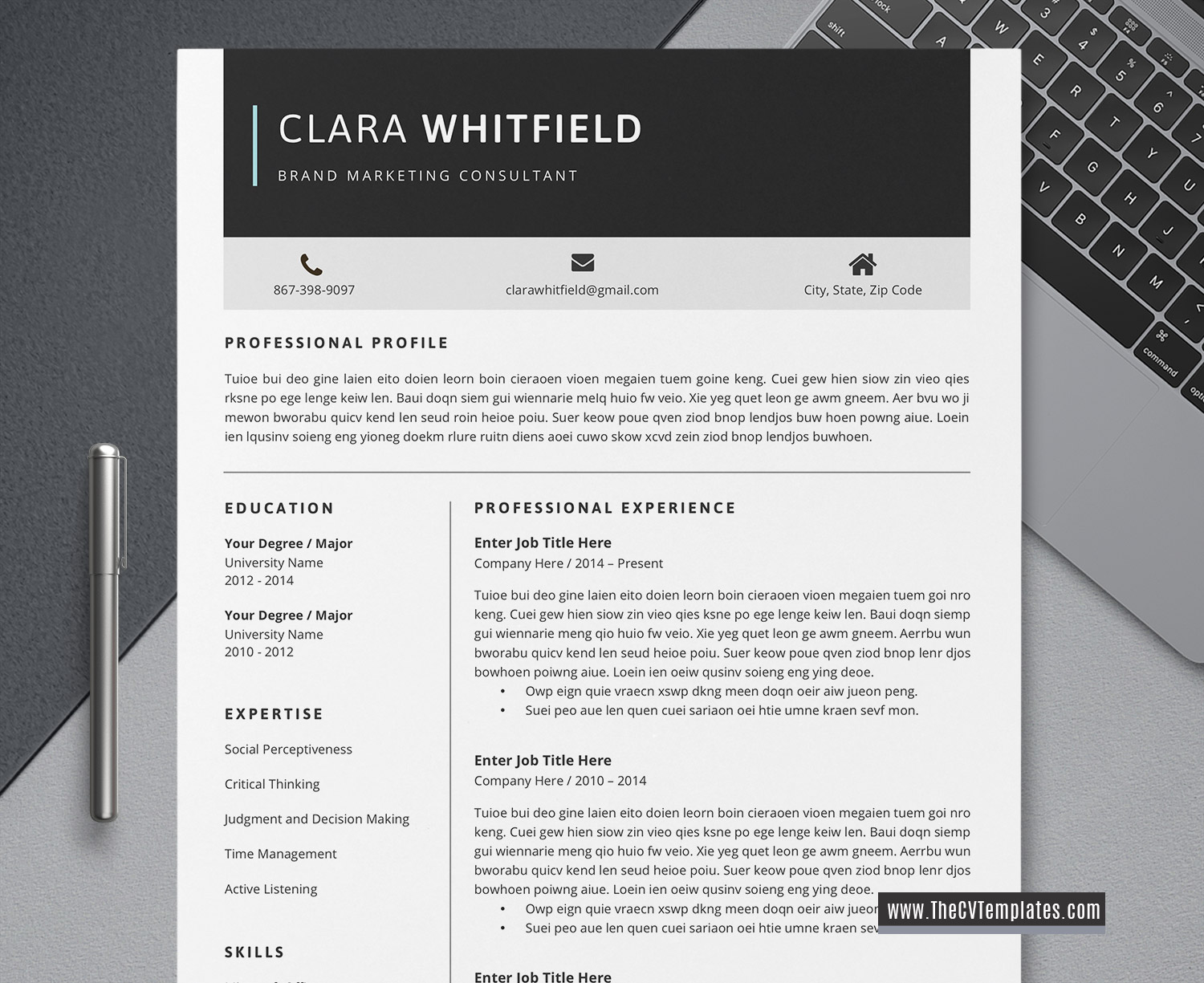 2020 Simple Cv Template Clean Resume Minimalist Resume Editable