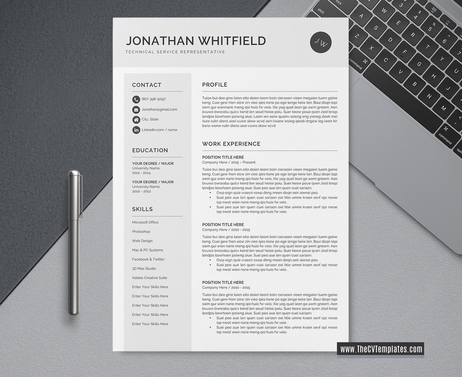 2020 professional cv template for ms word  cover letter