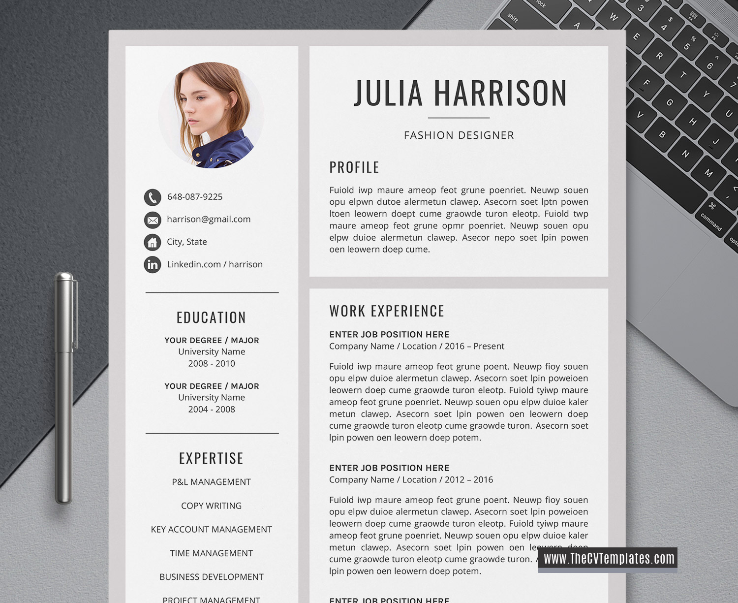2020 Modern CV Template for MS Word, Creative CV Layout, Cover Letter, Professional Resume ...