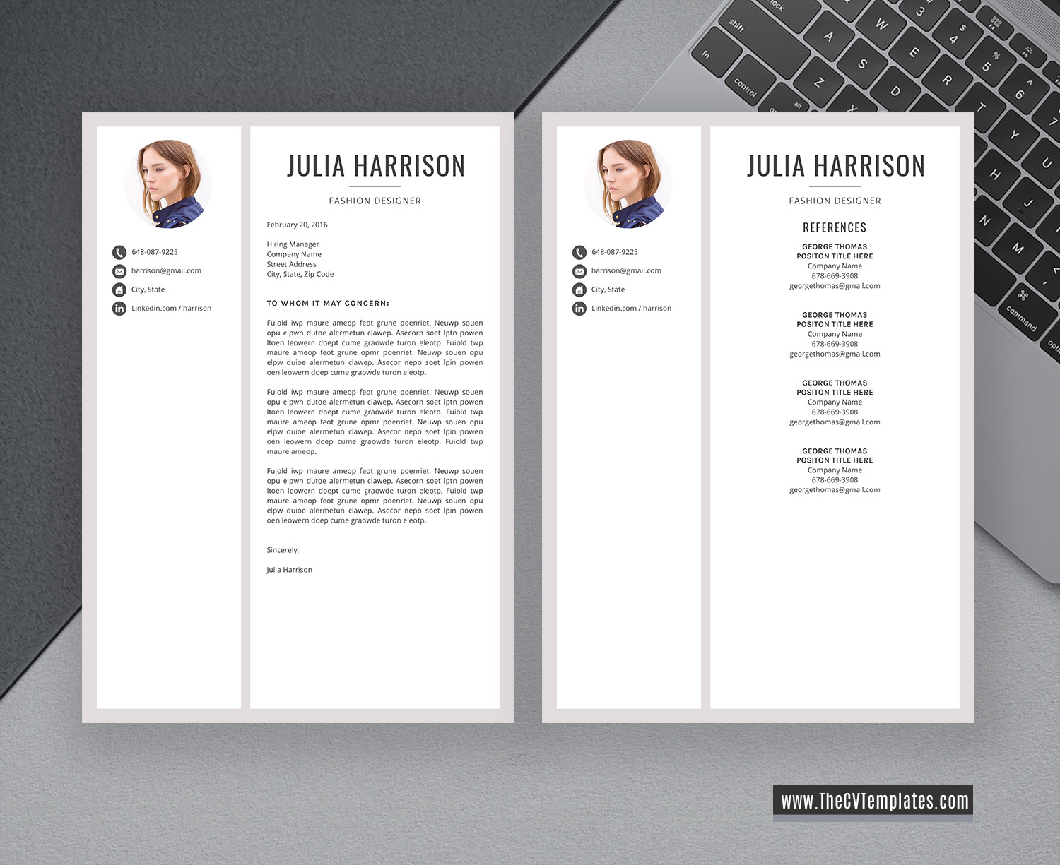 2020 modern cv template for ms word  creative cv layout  cover letter  professional resume