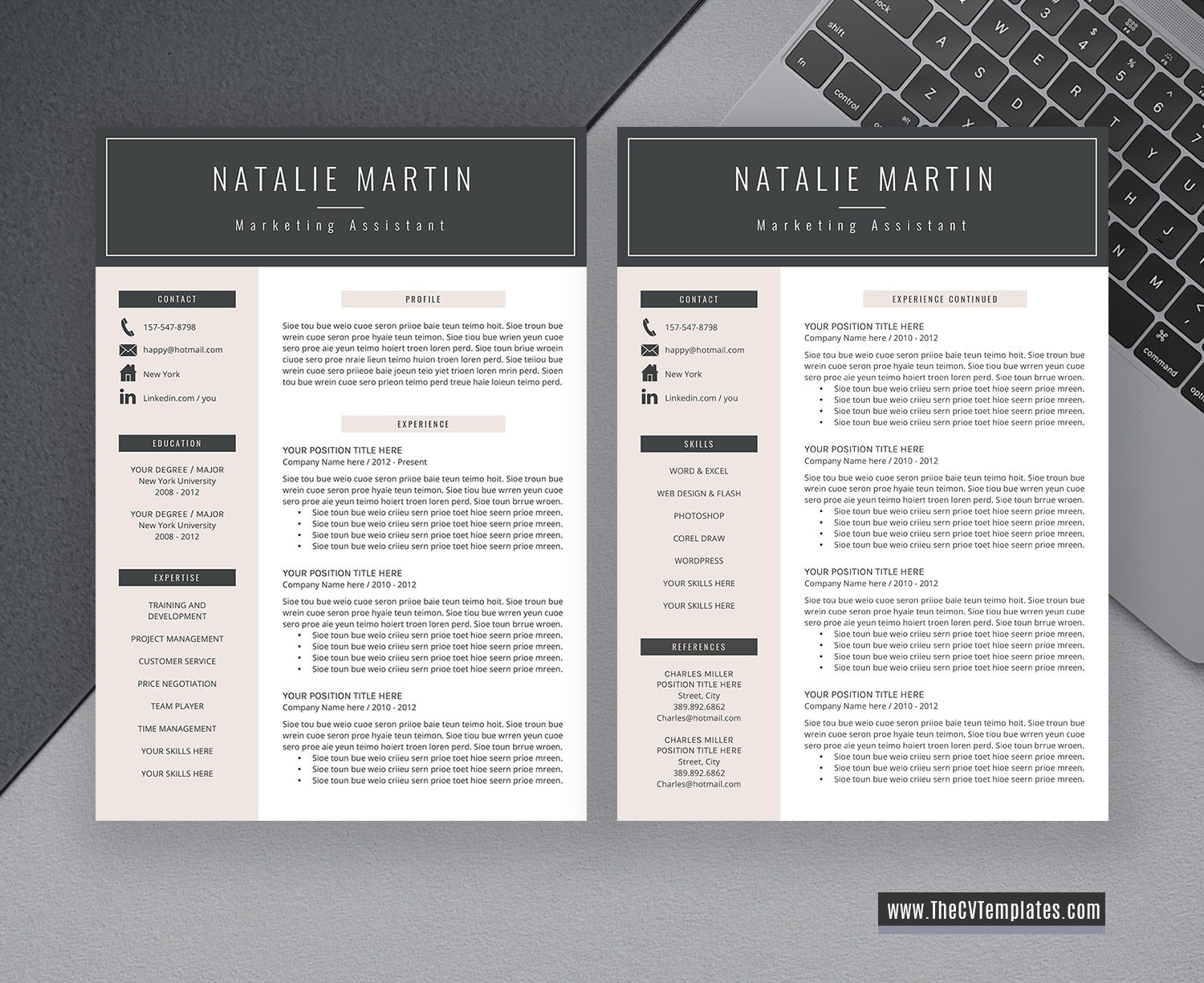 2020 CV Template for MS Word, Professional and Modern Resume Format, Cover  Letter, 1-3 Page, College Student Resume, Internship Resume, Printable ...
