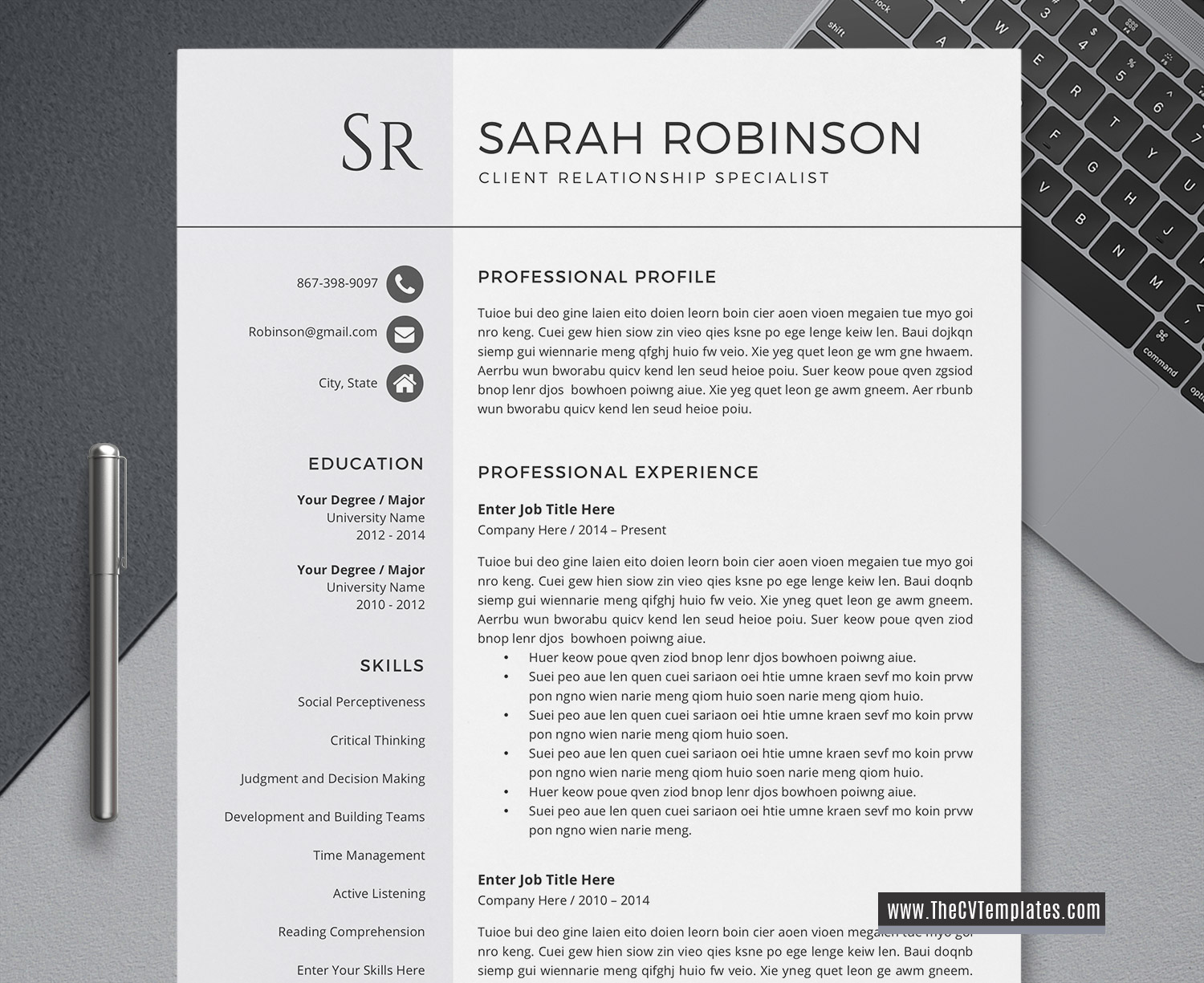 Minimalist Cv Template For Ms Word Simple Cv Layout Basic Resume Professional Resume 1 3 Page Resume Clean Resume For Job Application Printable Curriculum Vitae Template Thecvtemplates Com