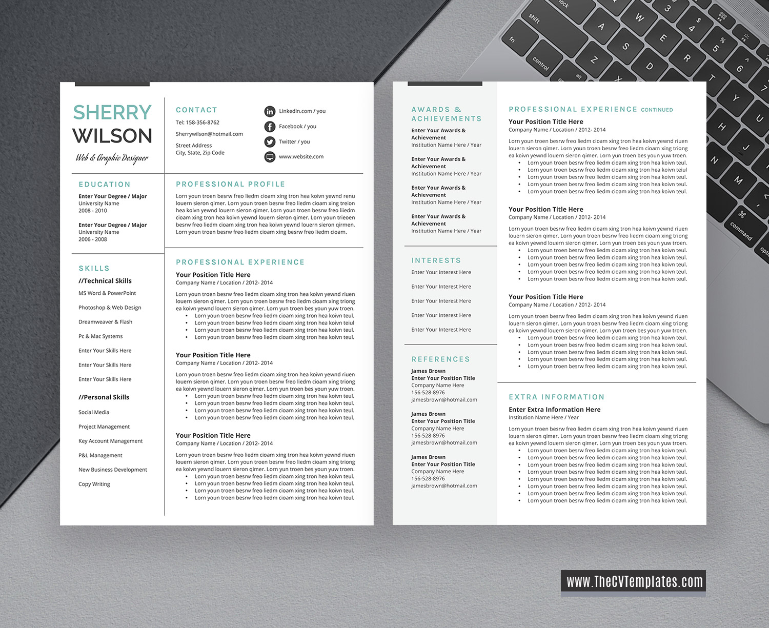 2020 Professional And Creative Cv Template And Resume Template 1