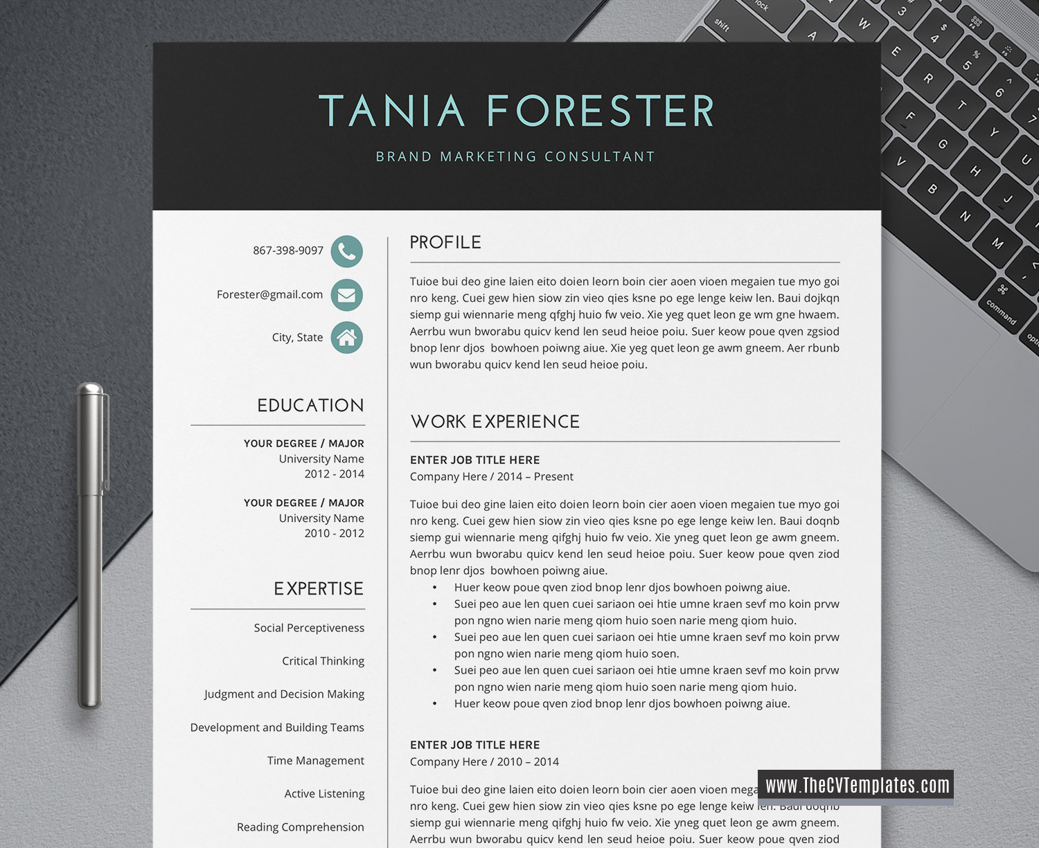 2020 Simple And Clean Cv Template For Ms Word Minimalist