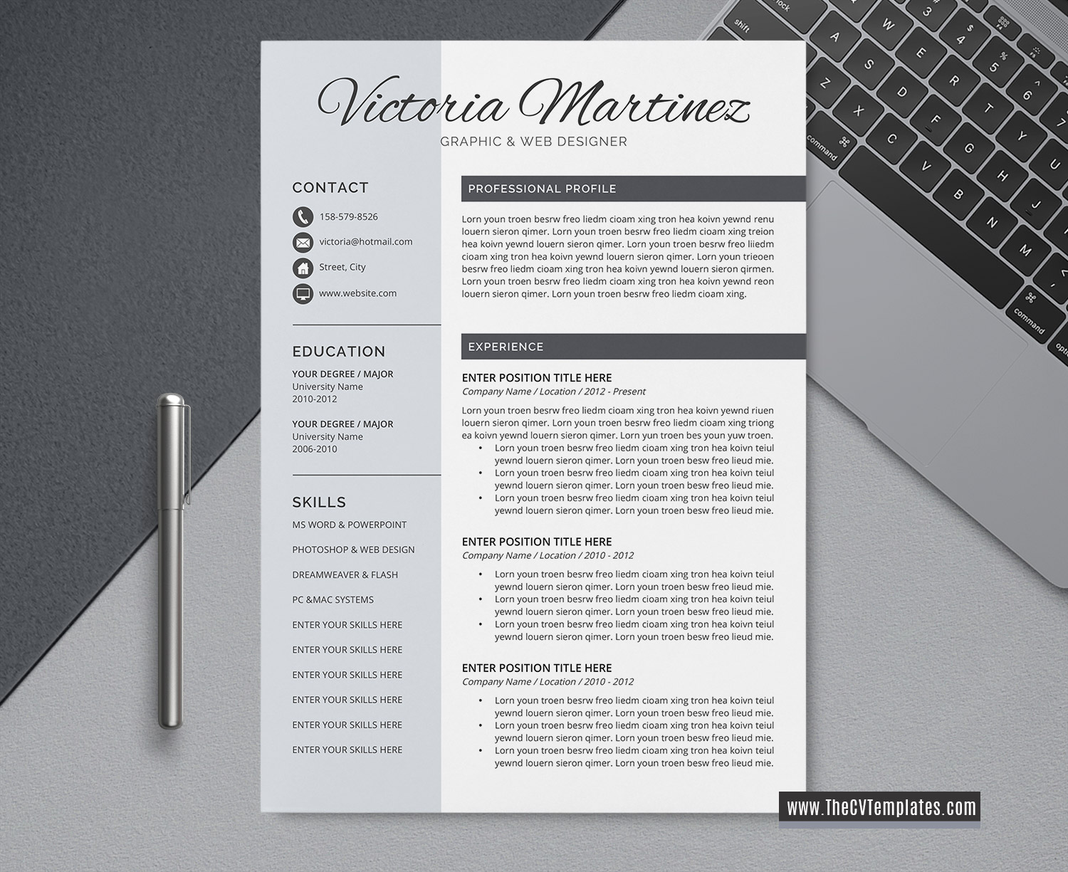 2020 professional cv template for word  cover letter